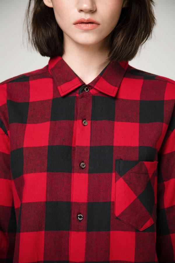 Рубашка из хлопка в клетку с принтом