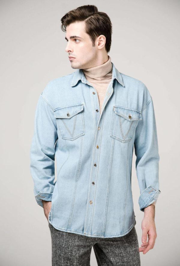 Рубашка из денима, декоративные пуговицы